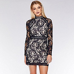 Quiz - Navy and Nude Lace Mini Dress