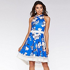 Quiz - Royal Blue and Pink High Neck Dip Hem Dress