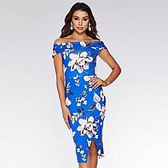 Quiz - Royal Blue And Pink Bardot Midi Dress