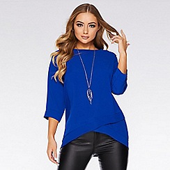 Quiz - Royal Blue Crossover Necklace Top