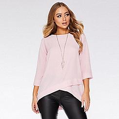 Quiz - Pink Crossover Necklace Top