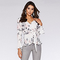 Quiz - Cream and pink floral long sleeve top