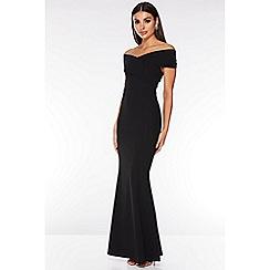 Quiz - Black Bardot Wrap Front Maxi Dress
