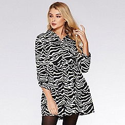 Quiz - Black White And Lime Zebra Print Shirt Dress