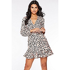 Quiz - Pink Dalmatian Print Wrap Dress