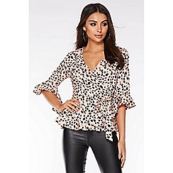 Quiz - Pink and Black Dalmatian Print Wrap Top