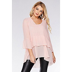 Quiz - Pale Pink Chiffon Pleated Top