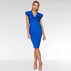 Quiz - Royal Blue Double Frill Midi Dress