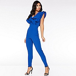 dae7ae02b4c Quiz - Royal Blue Double Frill V Front Jumpsuit