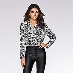 Quiz - Black and white satin zebra print bodysuit a16b16c422