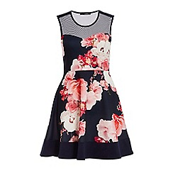 Quiz - Navy and Pink Mesh Floral Skater Dress