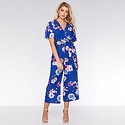 Quiz - Royal Blue Floral Culotte Jumpsuit