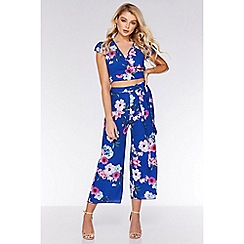 Quiz - Royal Blue and Pink Floral Culotte Trousers