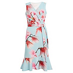 Quiz - Blue and Pink Floral Frill Hem Midi Dress