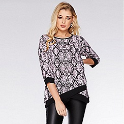 Quiz - Pink and Black Snake Print Contrast Top