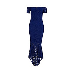 Quiz - Royal Blue Glitter Lace Midi Dress