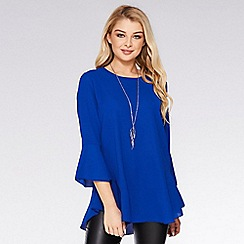 Quiz - Royal blue flute sleeve necklace top