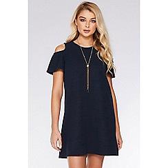 Quiz - Navy Cold Shoulder Shift Necklace Dress