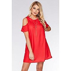 Quiz - Coral Cold Shoulder Shift Necklace Dress