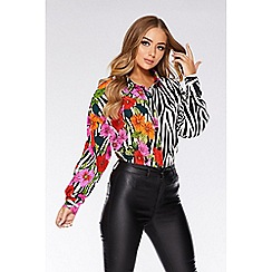 Quiz - Black Floral and Stripe Long Sleeve Shirt