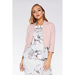 Quiz - Pink 3/4 Sleeve Crop Jacket