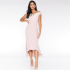 Quiz - Pink and Cream Bardot Dip Hem Dress