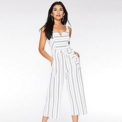Quiz - White and Navy Stripe Culotte Jumpsuit