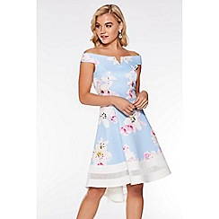 Quiz - Pale Blue Floral Dip Hem Bardot Dress