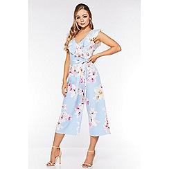 Quiz - Pale Blue Floral Culotte Jumpsuit