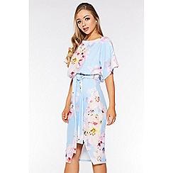 Quiz - Pale Blue Floral Print Batwing Dress