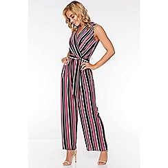 Quiz - Pink and Black Stripe Wrap Jumpsuit