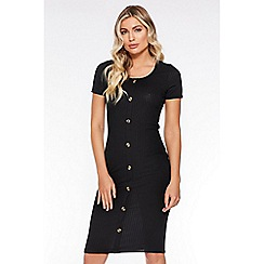 Quiz - Black Ribbed Button Front Dress