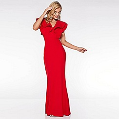 Quiz - Red Double Frill V Neck Maxi Dress