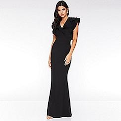 Quiz - Black Double Frill V-Neck Maxi Dress