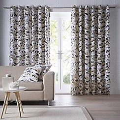 Clarke & Clarke - Chelsea 'Ochre' fully lined eyelet curtains