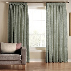 Tru Living - Classique Green Polyester Cotton Lined Pencil Pleat Curtains