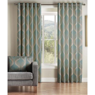 Jeff Banks Home Cyrus Teal Fully Lined Eyelet Curtains