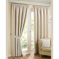 Joshua Thomas - Natural 'Elizabeth' fully lined pencil pleat curtains