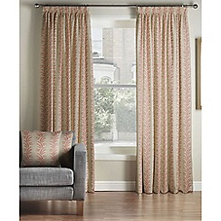 Montgomery - Coral 'Falun' pencil pleat curtains