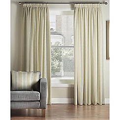 Montgomery - Mustard & Grey 'Hove Stripe' lined pencil pleat curtains