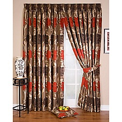 Whiteheads - Lucille Red Lined Pencil Pleat Curtains