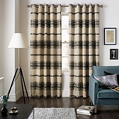 Jeff Banks Home - Painted Charcoal Eyelet Heading Lined Curtains