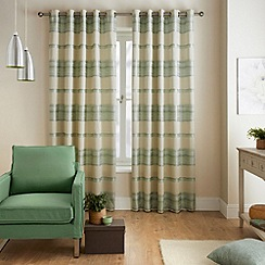 Jeff Banks Home - Painted Stripe Eau de Nil Eyelet Heading Lined Curtains
