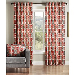 Montgomery - Coral 'Uppsala' lined eyelet curtains