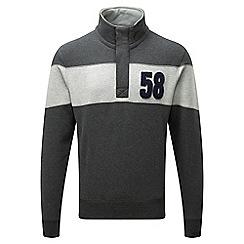 Tog 24 - Navy marl/navy malvern button neck sweatshirt