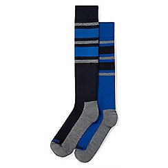 Tog 24 - Navy and royal stripe Maribel 2 pack TCZ thermal ski socks