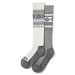 Tog 24 - White and grey flake Maribel 2 pack tzc thermal ski socks