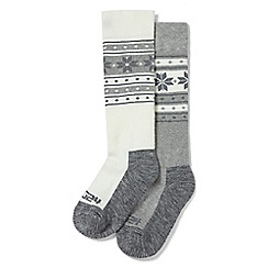 Tog 24 - White and grey flake Maribel 2 pack TCZ thermal ski socks