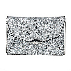 Parfois - Silver trapeze party clutch bag