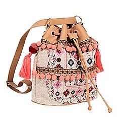 Parfois - Light cream folky rose handbag
